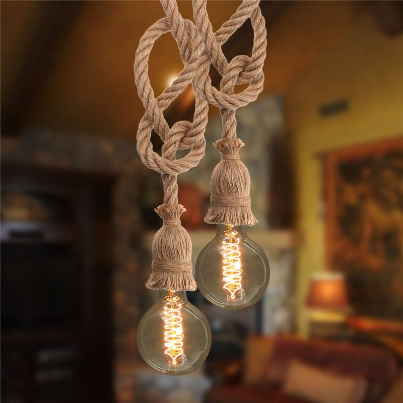 Smuxi E27 Double Head Edison Bulb Retro Countryside Hemp Rope Lamp Pendant Lights Edison Bulb for Living Room Cafe Lights hemp rope chandelier antique classic adjustable diy ceiling spider lamp light retro edison bulb pedant lamp for home