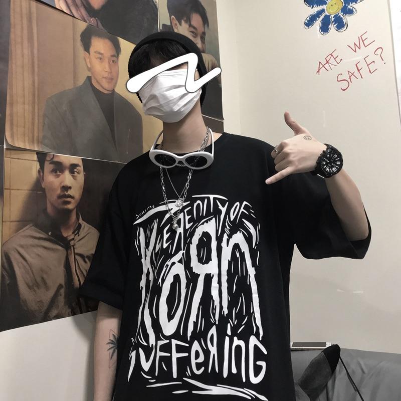 Hip Hop Graffiti Print Summer Man T Shirt 2019 Korean Vogue Loose Clothes Half Sleeve O Neck Vintage Tops Boys Black Streetwear