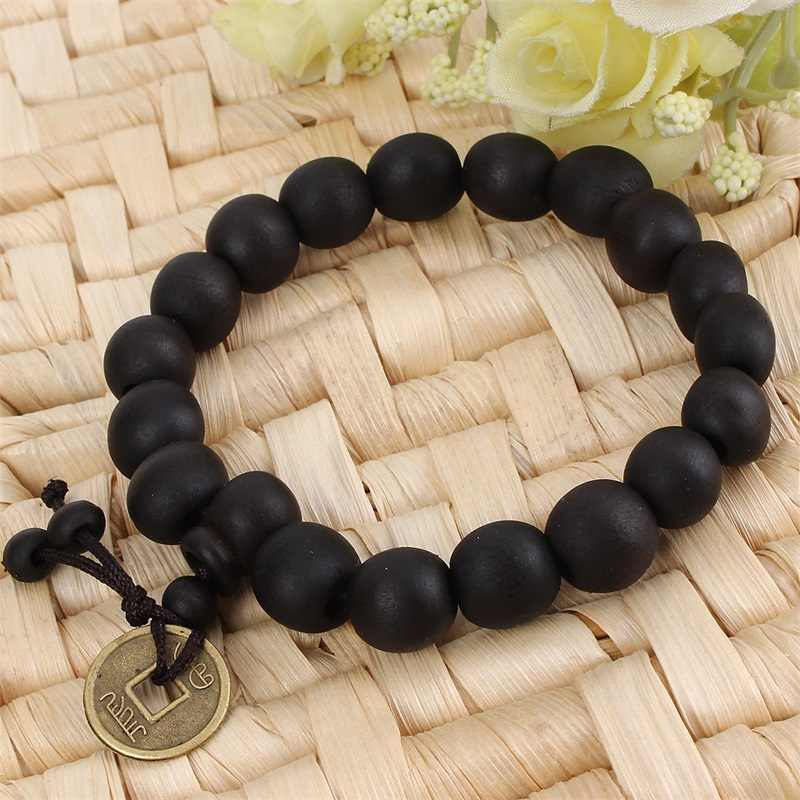 Black Fairy Peach Tree Copper Coin Beads Bracelet Black Wood Buddha Beads Buddhist Tibet Rosary Bracelet Fashion Accessories