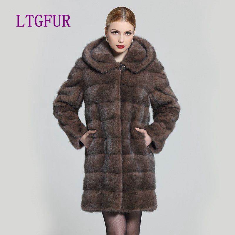 LTGFUR 2018real fur style fashion fur coat Genuine Leather Mandarin Collar good quality mink fur coat women natural black coats