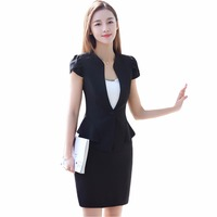 Women's suits For Office Lady New Summer Slim Single Button Blazers With Skirt Two Piece Set Business Formal Skirt Suits
