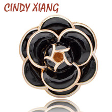 CINDY XIANG Enamel Saturna Camellia Flower Brooches for Women Black Color Fashion Coat Handbag Pins New Arrival Jewelry Gift cindy xiang brooches for women simple flower fashion pins for lady meeting jewelry coat office accessories friend s gift 2018