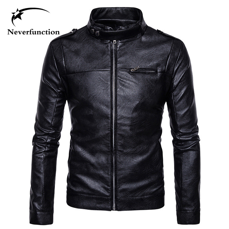 New autumn winter Brand mens Slim Fashion Bomber Jackets Casual Mens Vintage high quality zipper Motorcycle PU Leather Jacket