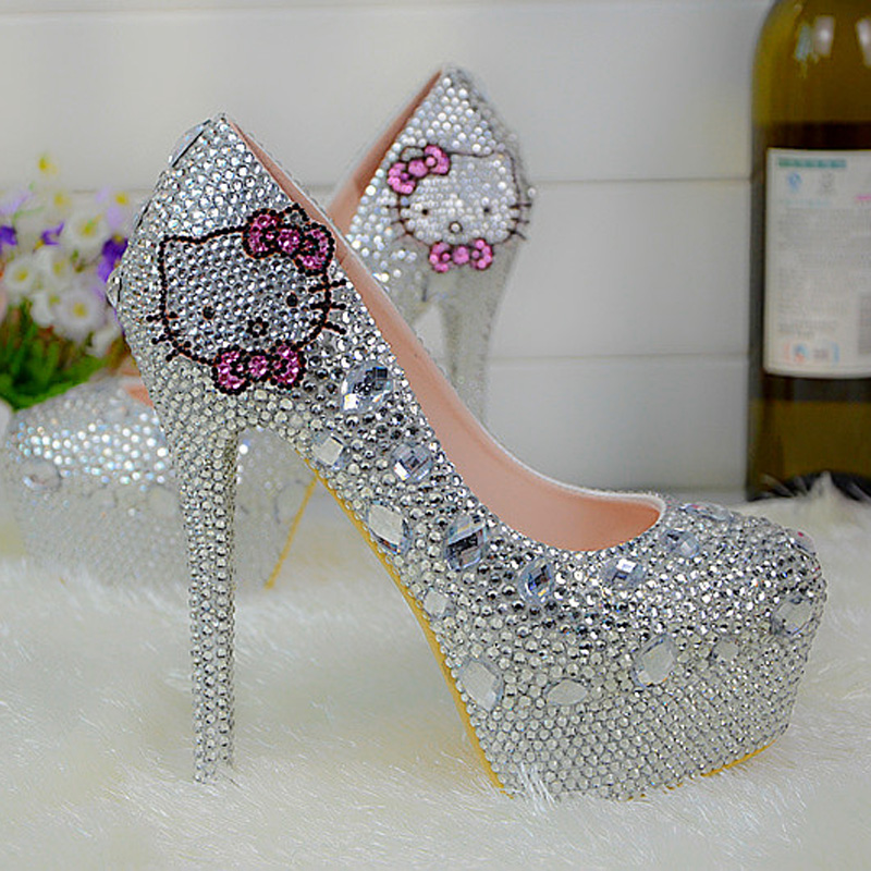Sexy Women Silver Rhinestone Wedding Shoes 2016 New Fashion Round Toe Gorgeous Prom Event Pumps Plus Size 44 Bridesmaid Shoes цены онлайн