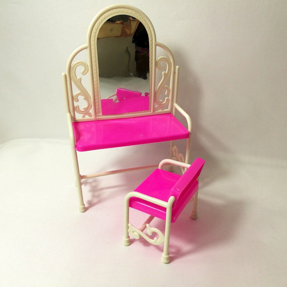 Fashion Classical Dresser Table Chair Kids Girls Play House Bedroom Toy Girls Best Gift Accessories For Barbie Doll Furniture