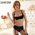 [Quecoo]Europe and the United States white ultra - thin transparent sexy lace without pad 1/2 cup bra set women's underwear
