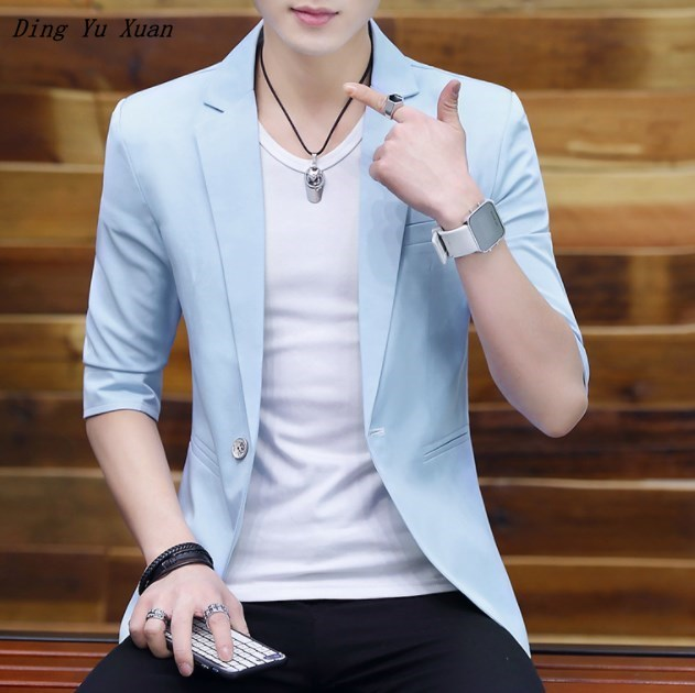 Men's Summer Short Sleeve Blazer Men Casual Suit Jacket Solid Black White Blue Pink Blazer Hombre For Teenage