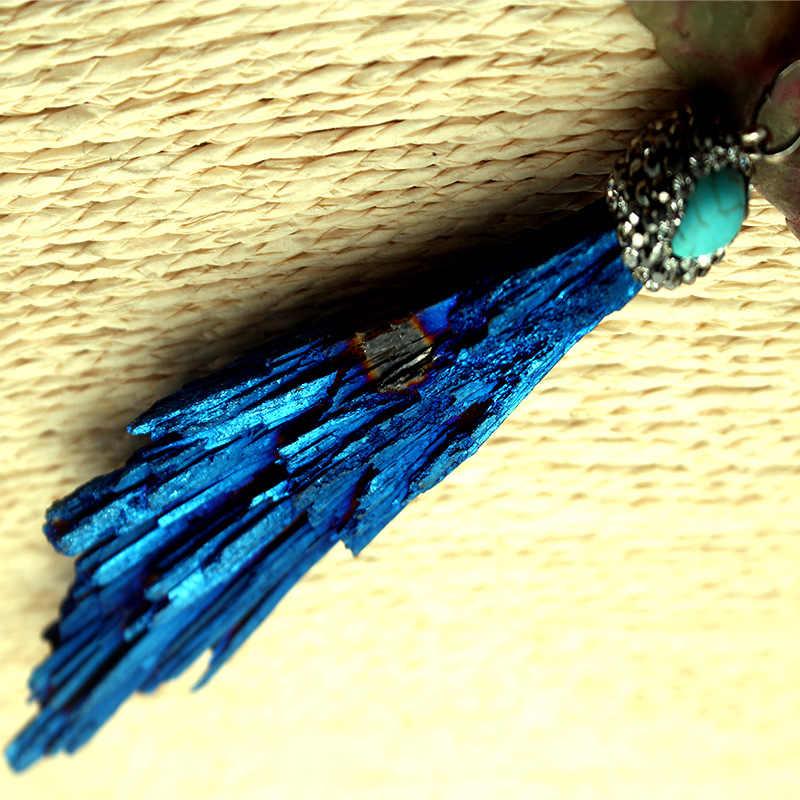 Qilmily 1pc naturalny kamień magia niebieski kryształowe inkrustowane cyrkon nieregularne w kształcie wiatraka naszyjnik do samodzielnego montażu dla kobiet mężczyzn biżuteria prezenty