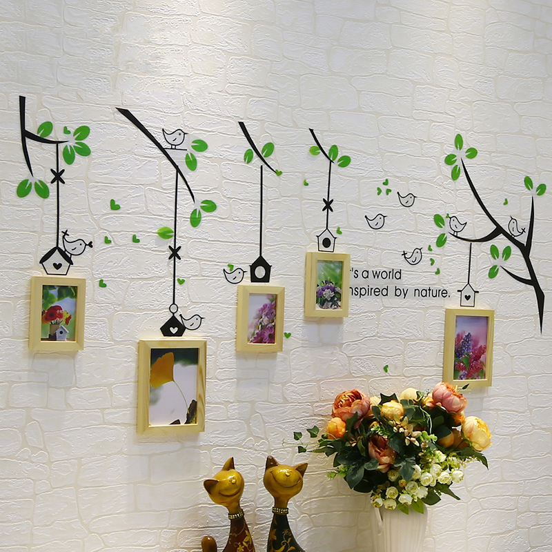 2017 Art arbre mur cadre Set cadres en bois pour Photo, cadre Photo de mariage accrocher au mur, mur cadres photos, corniche portafoto