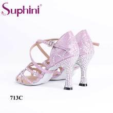 Suphini handmade high quality diamond pink glitter crystal sexy 7.5cm heel latin dance shoes