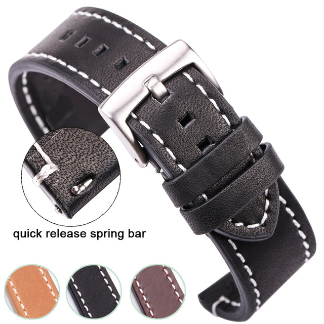 HENGRC Cowhide Genuine Leather Watchband Belt 18 20 22 24mm Men Women Thick Hand