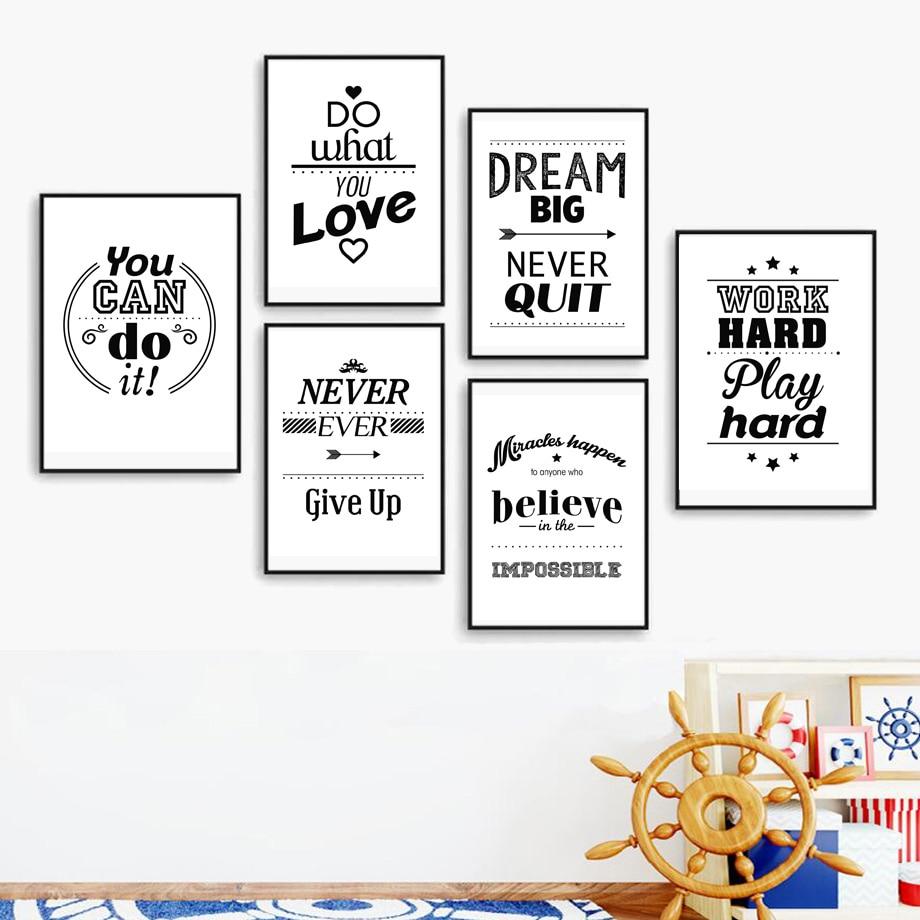 Dream Love Motivační Citáty Nástěnné umění Obraz na plátně Skandinávské plakáty a tisky Černá bílá Nástěnná malba Obrázek dětského pokoje Dekorace domů