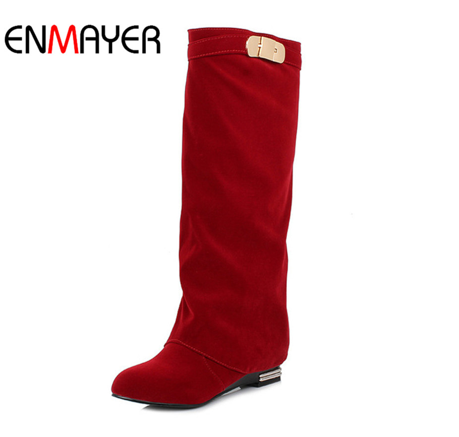 ENMAYER אופנה מערבית סגנון הבריטי ישר סטים רגל נעליים נעליים גבוהות סקסי שחור אדום חום ירידה משלוח גדול גודל 34-43