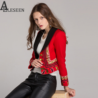 Designer Vintage Red Short Jacket Women S Autumn Winter Embroidery Jacket Red Long Sleeve Slim Cardigan