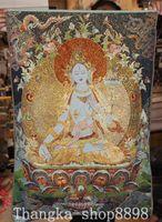 Tibet Buddhism Cloth Silk 7 eyes White Tara Buddha Thangka Thanka Wall hanging