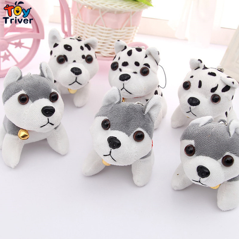 Wholesale 100pcs Plush Husky Dalmatian Spotty Dog Toys Doll Keychain Pendant Birthday Christmas Wedding Party Small Gift Triver wholesale husky plush toy dog 40cm the whole network lowest price free shipping
