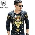Kirin fuego Slim Fit 3D Hombres de la Camiseta 2017 de la Marca de Lujo de Los Hombres camiseta Arco Y Flecha Búho Moda Bronceado Impresión Tee Shirt Homme T470