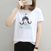 Liva Girl Cartoon Letter Printed Solid Color Women T-shirt Short Sleeves Loose Top T-shirt Women Tees Female T shirt for girl недорого