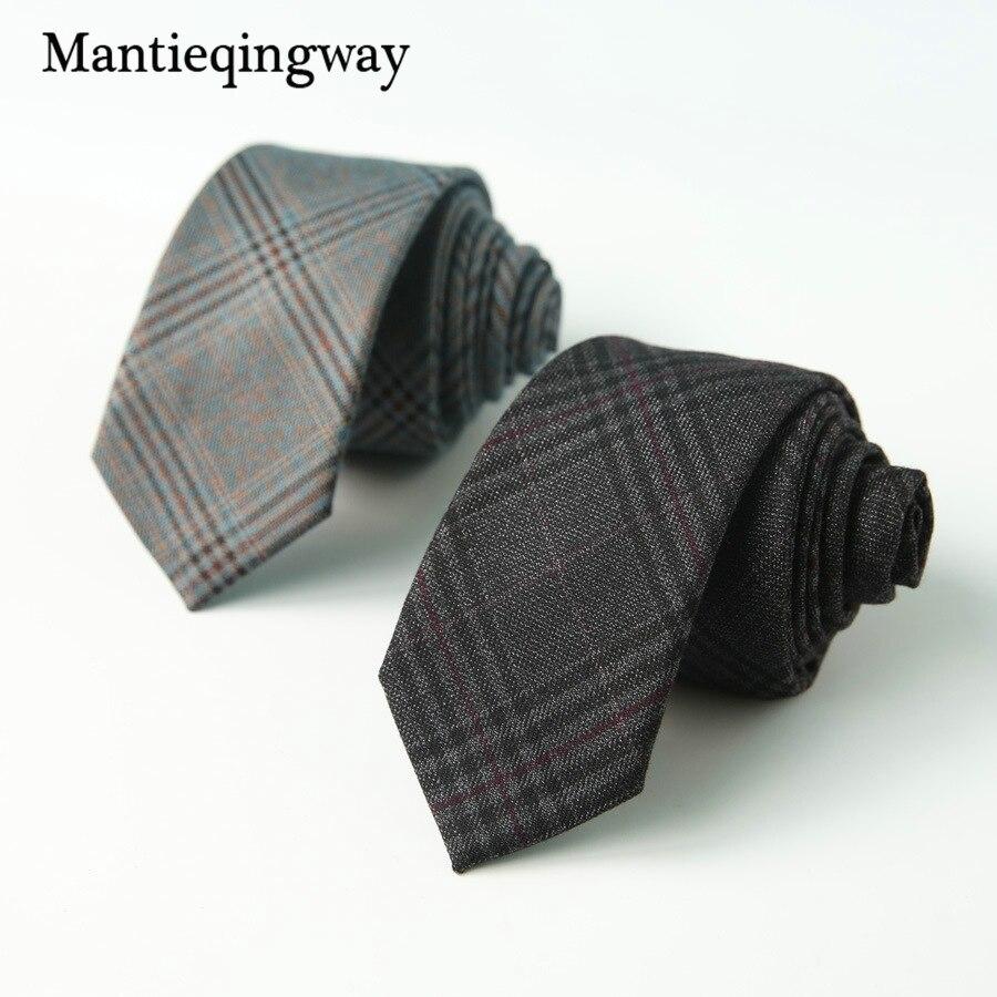 6cm Casual Cotton Necktie Black Solid Color Neck Ties For Mens Gravatas Slim Marriage Ties Skinny Plaid Tie Cravat