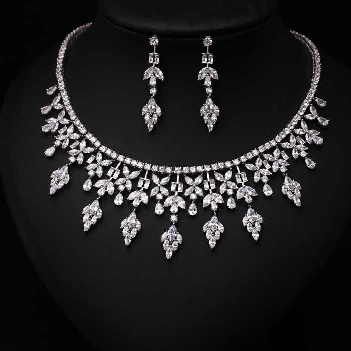 Fashion Clear Arrow  With Square Shape CZ Crystal and Pearl Jewelry Sets For Wedding  Necklace earring set JC352089S