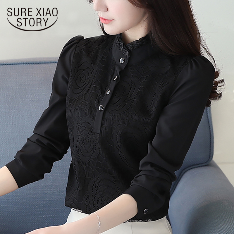 Fashion women   blouses   2019 white office   blouse   women plus size tops lace chiffon   blouse     shirt   long sleeve women   shirts   2678 50