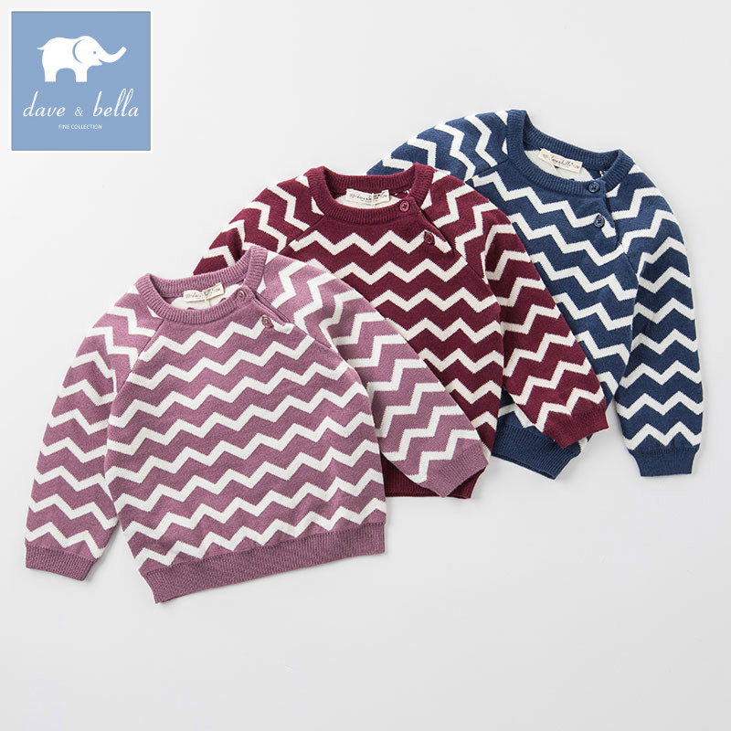 DB4522 dave bella autumn unisex infant baby girls wool pullover tops kids clothes children toddler knitted Sweater