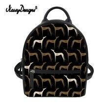 Noisydesigns Women Black Backpack 3D Greyhounds Prints PU Mini Ladies Rucksack Custom Bag Girls Travel Mochila Feminina Dropship