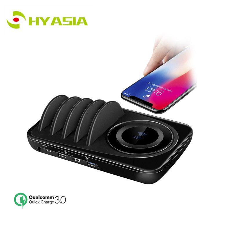 HYASIA QC3 0 Desktop Detachable Wireless Charger Stations Universal USB mobile phone charging station For iPhone