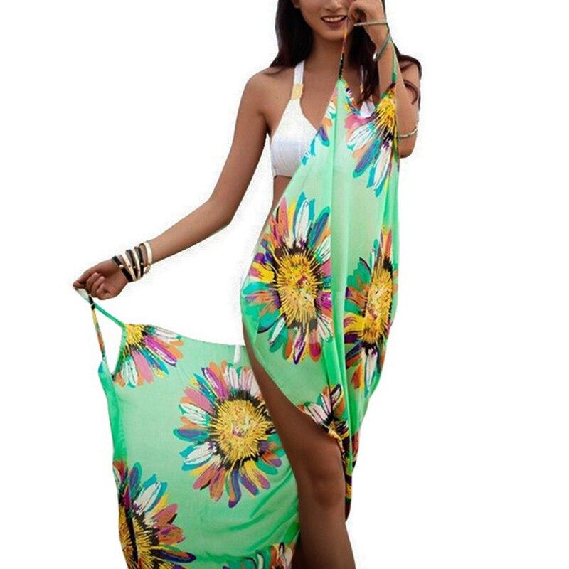 Sfit женские купальные костюмы с закрытой крышкой бикини Солнцезащитная шаль шифоновая пляжная шаль, большой размер цветочный принт спагетт...
