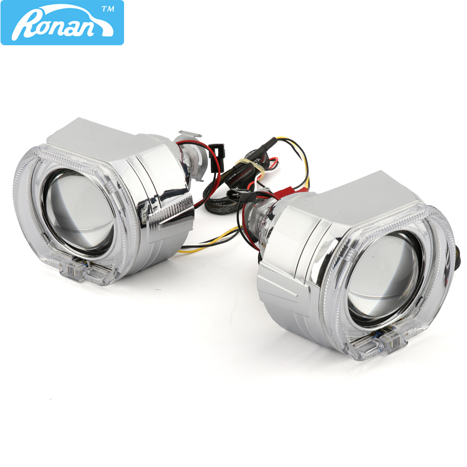 RONAN 2.5''Projector Bi-xenon MINI H1 Lens 7.1 8.1 X5 Square LED Angel Eyes drl white switchback yellow for H4 H7 Car Headlight free shipping kia k5 exclusive use led angel eyes square round shape full set custom made drl two colors white yellow 18w 12v