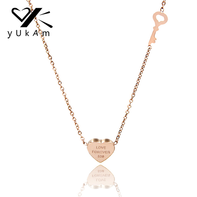 Yukam jewelry romantic small key heart charm pendant necklaces yukam jewelry romantic small key heart charm pendant necklaces forever love choker necklace stainless steel rose mozeypictures Images