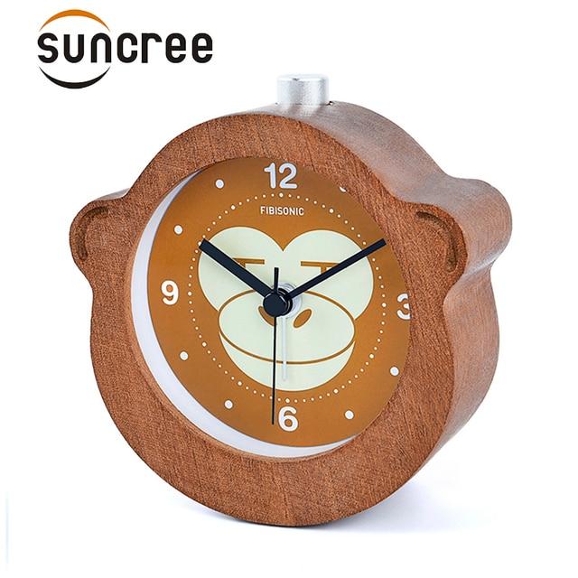 Fibisonic  wooden alarm Circular Monkey clocks No Ticking Snooze Backlight Digital Clock Wood Desktop Table Clocks