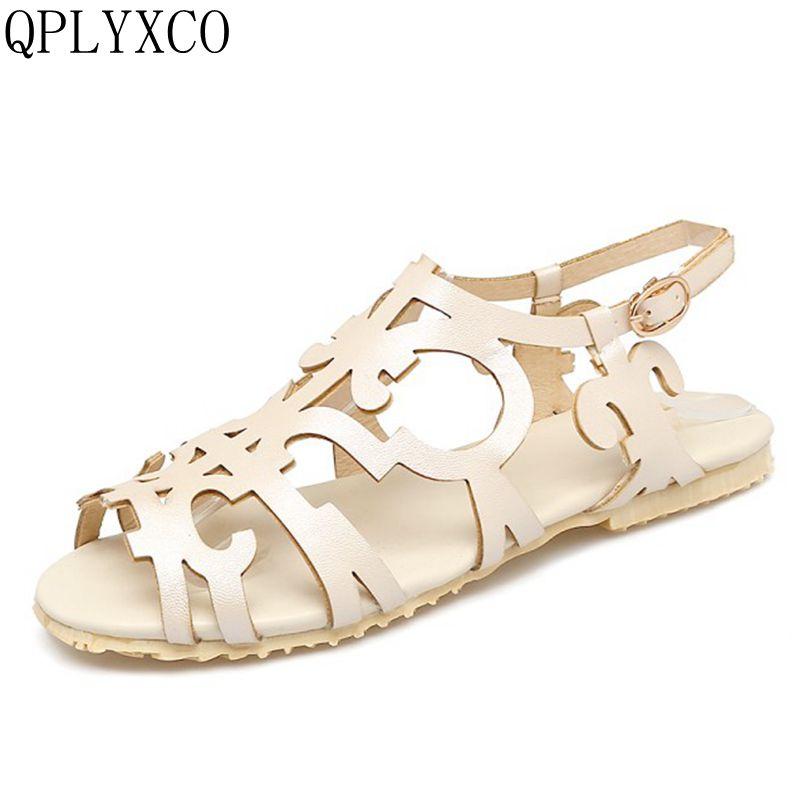 8b390fe7f Qplyxco новый плюс супер большой размер 34–52 женская обувь красочные пляж  Туфли без каблуков