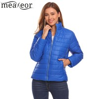 Meaneor Stand Collar Lightweight Down Jackets Winter Women Casual Zip Up Long Sleeve Solid Warm Down Jackets Outwears