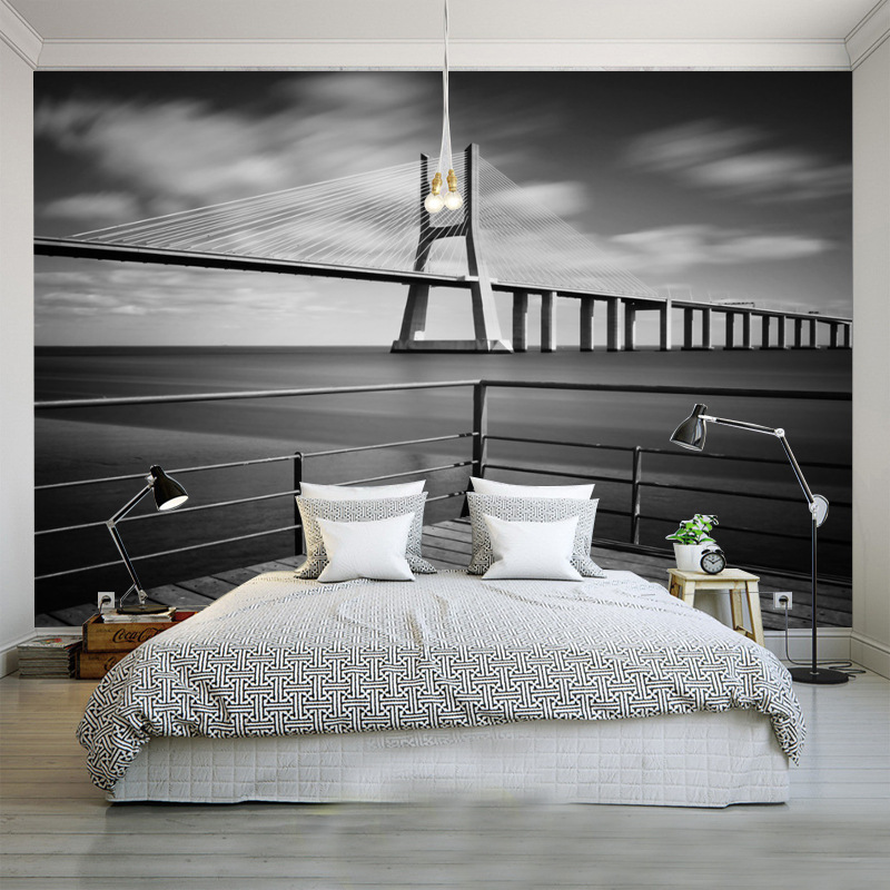 Custom Mural wallpeprs Night View Bridge New York European And American Cities Black And White Living Room Backdrop Wallpaper american living new black jacquard fit