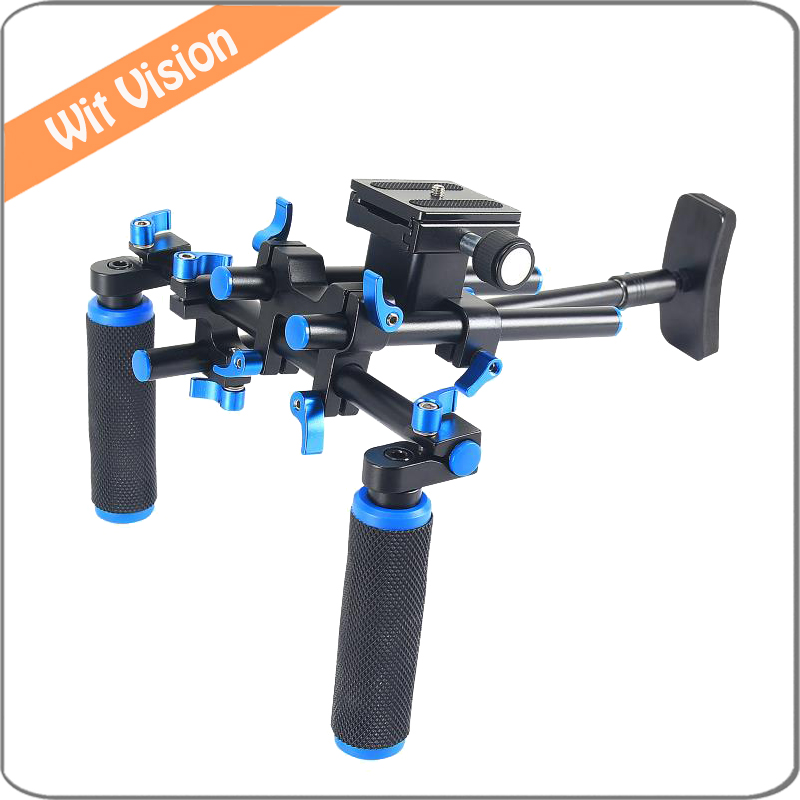 Portable DSLR Rig Set With Double-hand Handgrip Shoulder Mount for Canon Sony Nikon SLR Camera DV Camcorde new portable dslr rig film movie kit shoulder mount video photo studio accessories for canon sony nikon slr camera camcorder dv