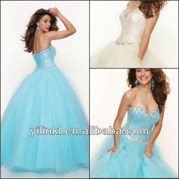 Vintage Style Sweetheart Sequined Bodice Lace up Back Tulle Free Shipping 2013 New Fashion Ball Gown Prom Dresses