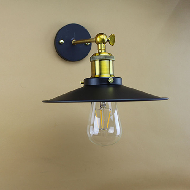 Retro Bedroom Wall Lamp with Wide Lampshade