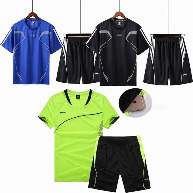 138d3e43c 2 piezas corriendo establece hombres niños ropa deportiva de manga corta  ropa de Fitness de baloncesto