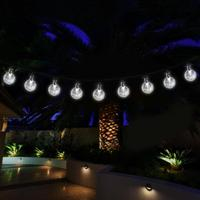6M 40LED Crystal Ball Solar String Lights Christmas Fairy Garden Lights For Outdoor Lawn Patio Party