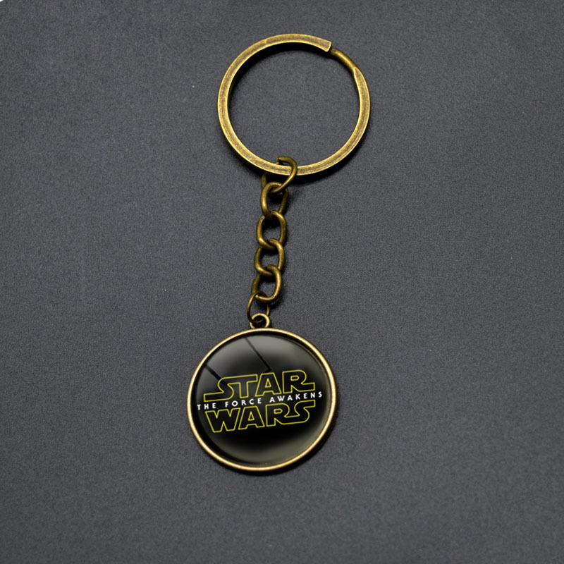 New Arrival Comics STAR WARS Round Pendant Keychain Darth Vader Vintage Anime Key chains For Boys Brand Movie Cartoon Key Rings