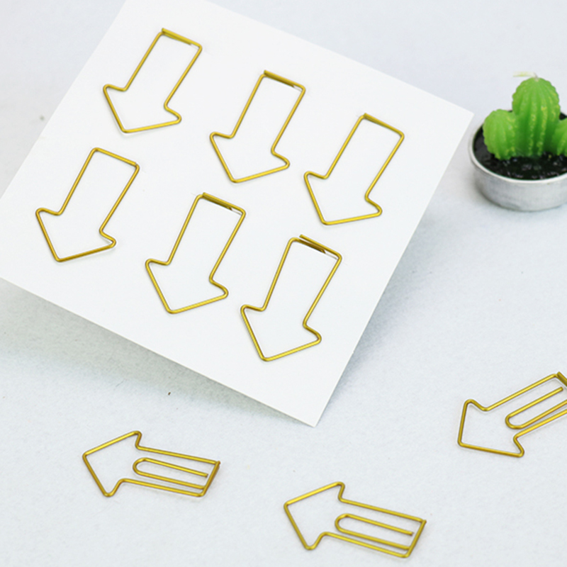TUTU 6PCS/LOT Metal Cupid Arrows Shape Paper Clips Silvery Color Funny Bookmark Office School Stationery Marking Clips H0043