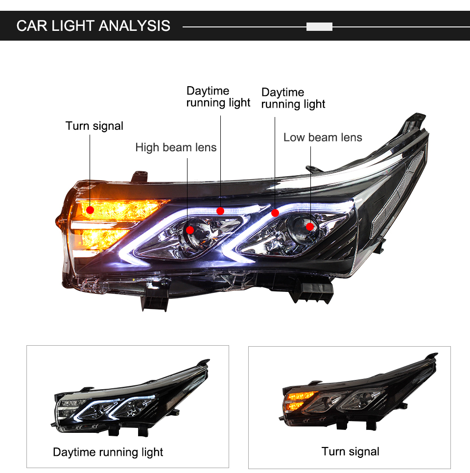 AcooSun LED Car Headlight Assembly For Toyota Corolla 2014 2015 DRL Turn Signal Lights Projector Lens Plug and Play Head Light (2)