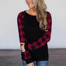 Женская футболка клетчатая Футболка реглан топы размера плюс 5XL Femlae пуловер пэчворк весна осень круглый вырез длинный рукав женская футболка s