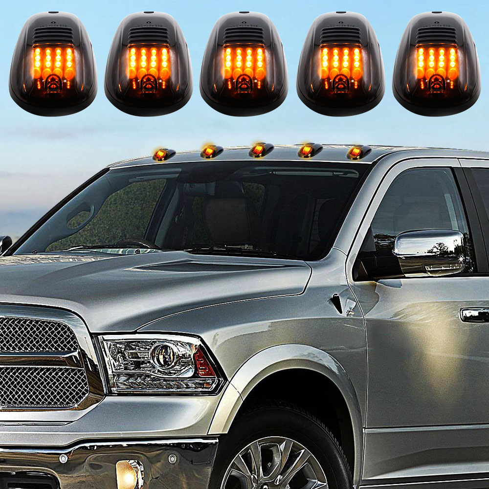 5 x Smoked Covers Cab Roof Running Amber 12-LED Car Cab Roof Marker Lights for 03-16 DODGE RAM Front & Rear Holes