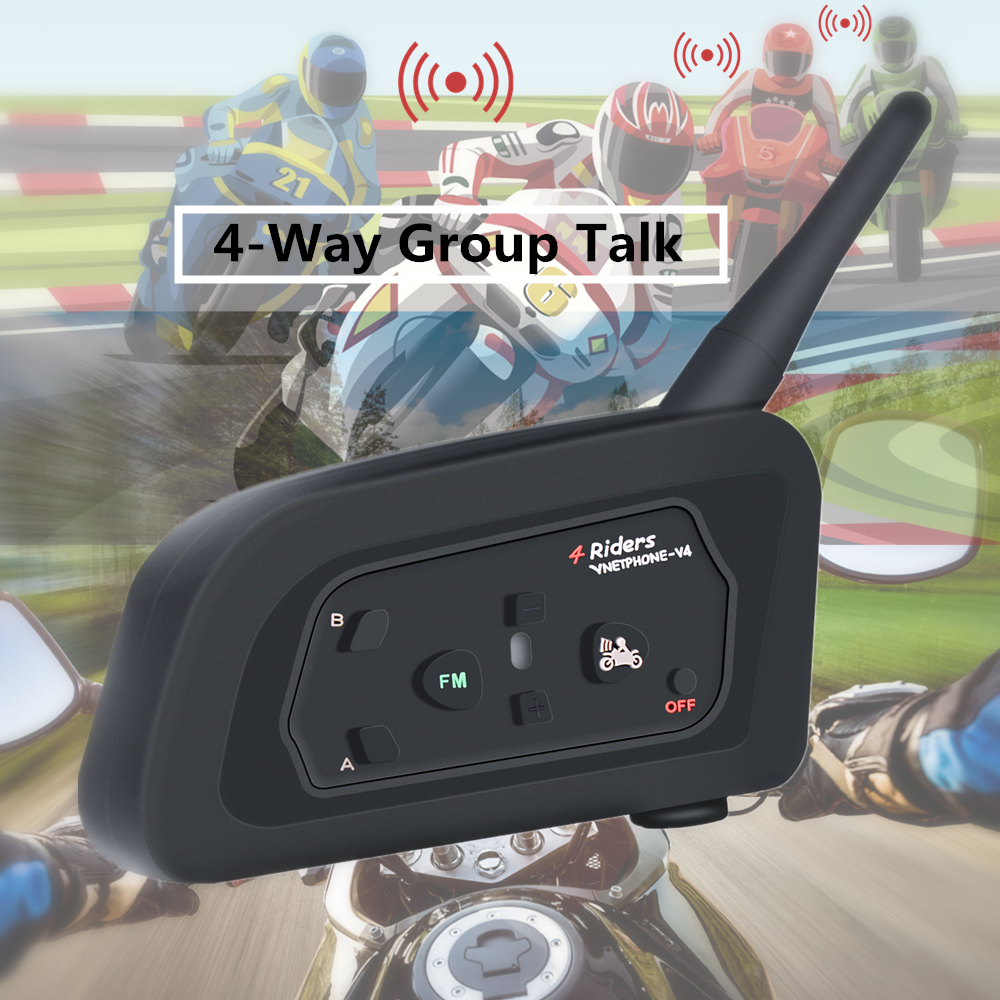 VNETPHONE V4 Intercom Moto Helmet Bluetooth Headset 850mAh 4 People Cascos Inalambricos Speaker Waterproof FM Radio