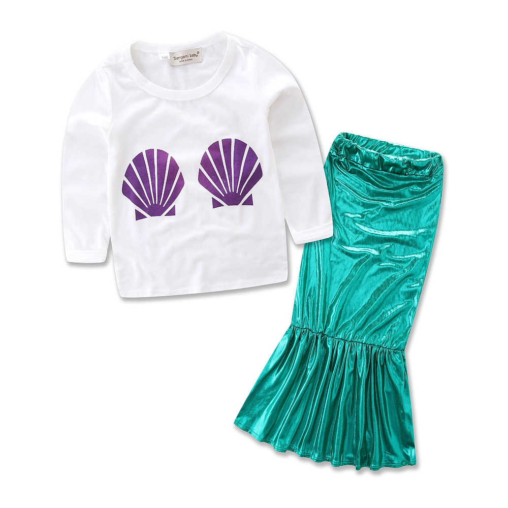 a7686ea4cb09d ... The little Mermaid Clothing Sets for Girls Purple Shell Long Sleeve T  Shirts & Ariel Green ...
