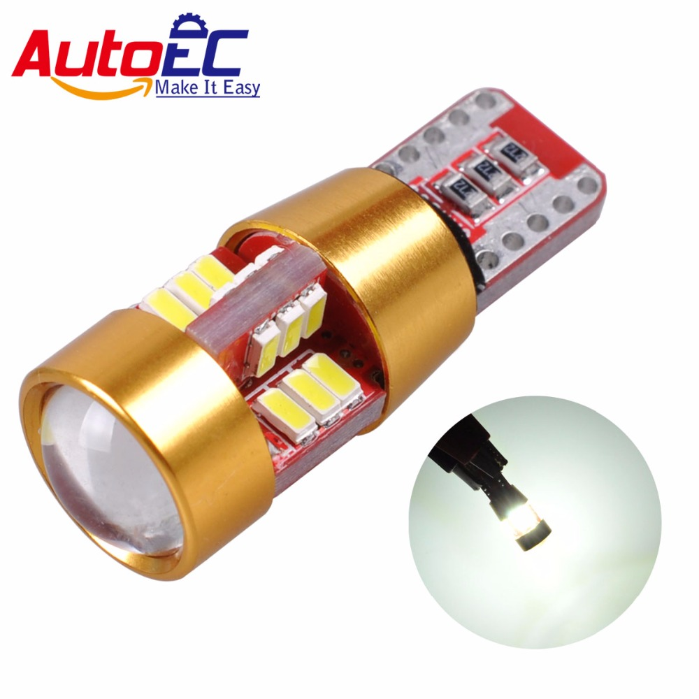 AutoEC 2X T10 3014 27 smd canbus led w5w No error lens 168 194 - Car Lights - Photo 1
