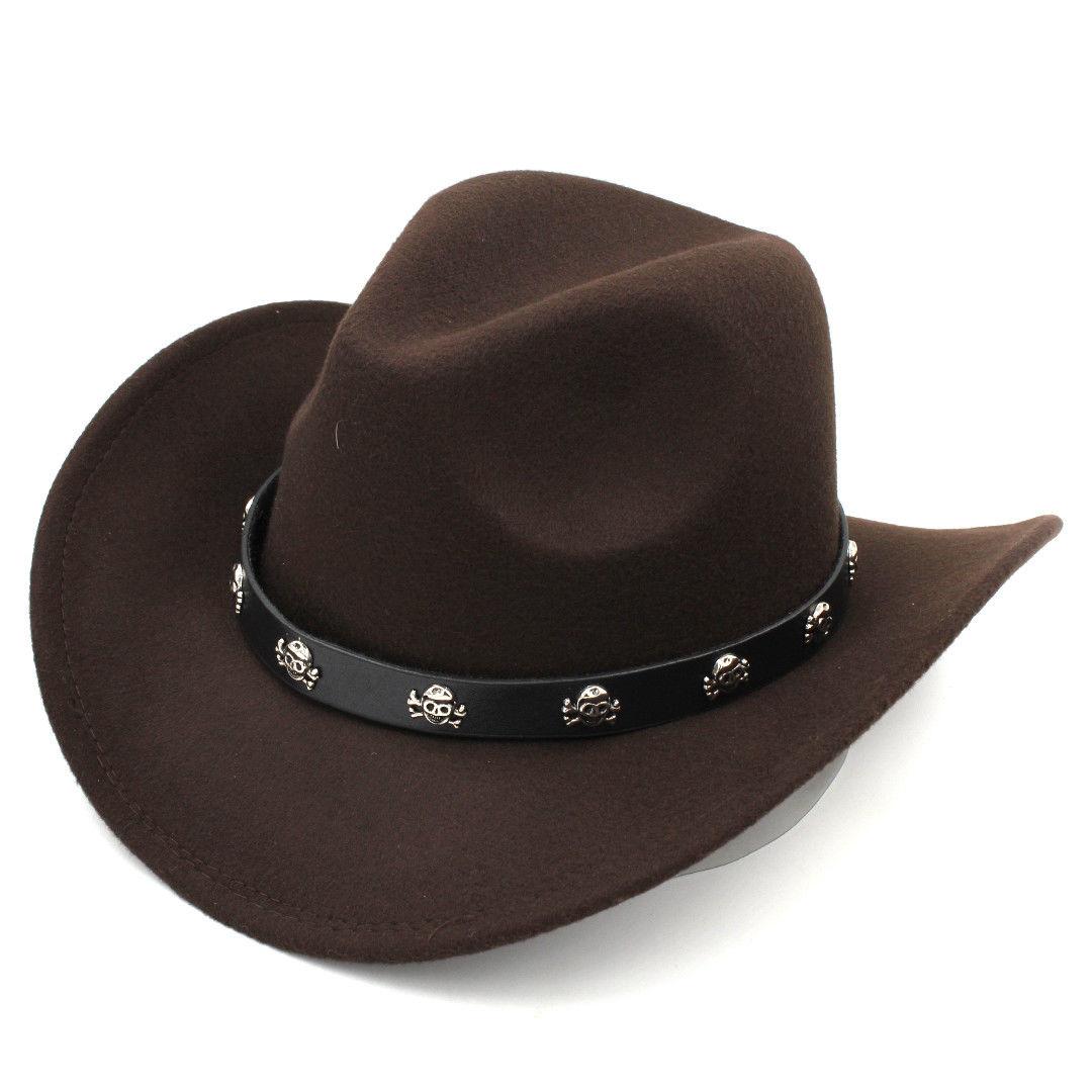 Women s Men s Wo Blend Western Cowboy Hats Wide Brim Cowgirl Caps ... 7d28fb745629
