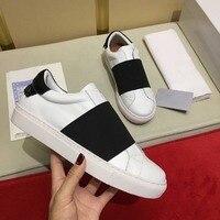 Лидер продаж, черные полосатые женские кожаные кроссовки в стиле пэчворк, белые теннисные женские туфли, Классические уличные, из натуральн